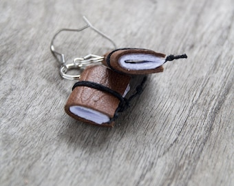 Leather earrings, miniature book earrings, bookworm mini book jewelry, book lover reader gift, literature jewelry, eco friendly earrings
