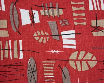 Atomic Retro Mid Century Mod Eames era reproduction Barkcloth TIKI screenprinted 1950s