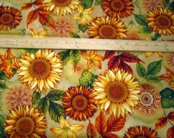 Welcome Harvest Sunflowers Cream premium cotton fabric by Color Principle Studio for Henry Glass & Co - autumn
