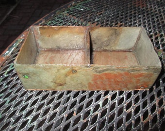 Jewelry tray with two sections. Made from weathered slate with cork on bottom. # DT-42