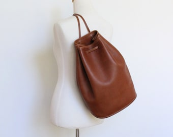 Vintage Coach Bucket Bag British Tan // Leather Drawstring Duffle Backpack Purse // Slingback 9929 Excellent Condition