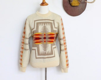 Vintage Pendleton Sweater Wool // 70s Southwestern Ethnic Sweater Jumper Medium // High Grade Western Wear