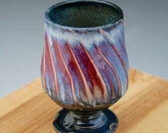 Red and Blue Wine Glass #20, Ceramic Wine Glasses, Ceramic Wine Chalice, Handmade Wine Goblets