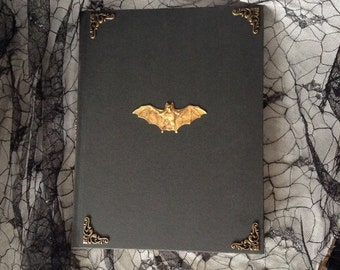 Antique Brass Bat Black Gothic Blank Sketch Book Journal