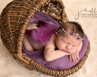 Blue Baby Halo, Newborn Halo, Newborn Photo Prop, Blue Baby Headband, Rhinestone Halo, Blue Headband, Flower Baby Halo, Newborn Photo Prop