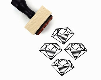 Rubber Stamp Diamond - A Girl's Best Friend Hand Drawn Stamp