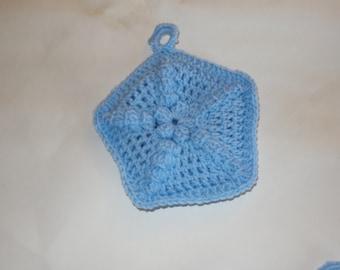 Handmade Potholder Star Pentagon Light Blue