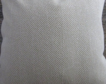 Designer Pillow Cover Lumbar, 16  x 16, 18 x 18, 20 x 20, 22 x 22, Euro - Herringbone  Ivory