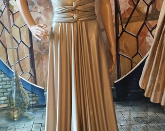 GOLD Bridesmaid dress Infinity convertible dress, Long maxi  Short multifunctional dress Evening Gown primary color champagne