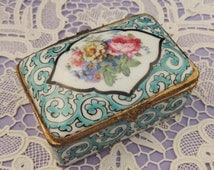 Antique Hand Painted Floral French Enamel Porcelain Box / French Enamel Snuff Box /Floral Porcelain Dresser Box/French Porcelain Trinket Box