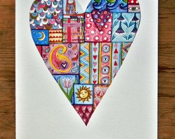 Love Card, Patchwork, Loveheart, A5, All occasions card