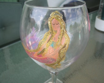 Hand painted wine glass, pink mermaid