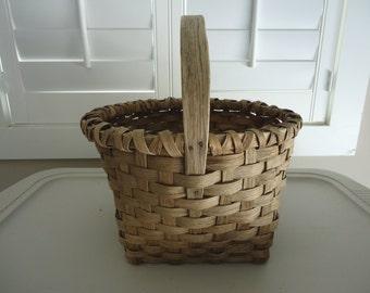 Vintage Woven Basket, Antique Wood Basket, Primitive Basket, Wicker Basket, Antique Flower Basket, Basket with Handle, Farmhouse Basket
