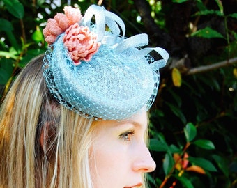 Tweed Water Lilies pale blue and pink vintage style percher cocktail hat