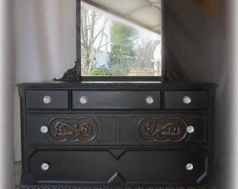 Black Vintage Dresser with Tiara Mirror-Shipping isn't Included