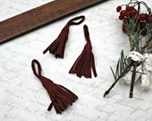 Vintage - Set of 3 french burgundy leather tassel boho folk gypsy