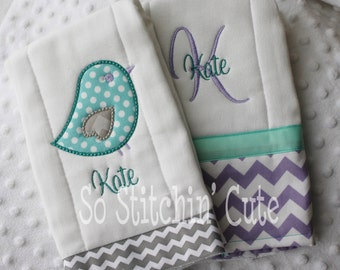 Sweet Birdie Burp Cloth Set in Lavender and Aqua