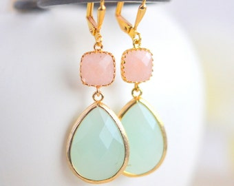 Mint Stone and Peach Jade Dangle Earrings in Gold.  Drop Earrings. Bridesmaid Dangle Earrings. Jewelry Gift Her.  Christmas Gift.