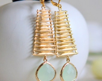 Mint and Gold Statement Earrings.  Dangle Earrings with Gold Washboard and Light Mint Stones.  Jewelry Gift.  Dangle Earrings.  Jewelry.