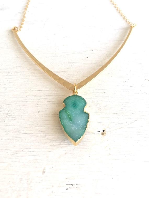 Druzy Necklace. Bib. Aqua Geometric V Pendant Necklace.  Geode Necklace. Druzy Jewelry. Arrow Necklace. Aqua Gold Necklace. Chunky Necklace