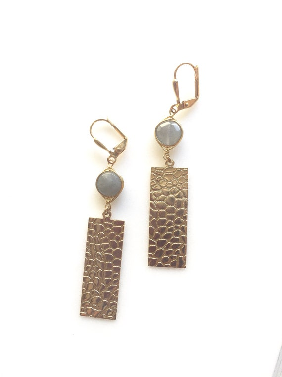 Rectangle Earrings and Labradorite Grey Drop Earrings. Dangle. Geometric. Simple. Jewelry Gift for Her.  Gift. Jewelry.