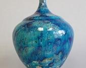 Turquoise/Cobalt Mottled Raku Vessel