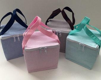 Seersucker Lunch Box, Snack Cube, Cooler, Personalized  Seersucker - Daycare, Preschool