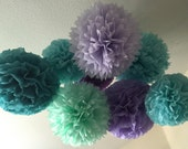 Tissue Paper Pom Poms -Set of 6- under the sea Party - Mermaid birthday party Decorations - Ariel little mermaid Party - Purple Aqua Mint