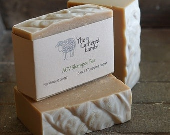 Shampoo Bar, Soap with Apple Cider Vinegar, Cocoa Butter, 6 oz, Handmade Luxury Soap, Bar for Hair and Body, Essential Oil Soap, Unisex Soap