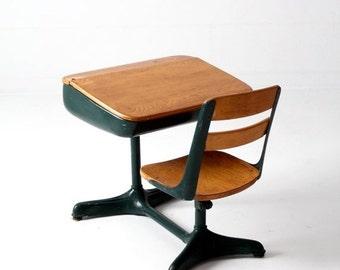SALE children's school desk, vintage kid's classroom desk with swivel seat