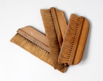 antique hand broom collection, natural bristle brushes
