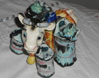 Vintage ceramic condiment bovine salt & pepper,vinegar an oil set