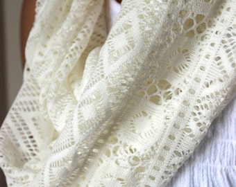 Off White Lace Infinity Scarf