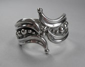 Mexican Sterling Bracelet, Vintage Taxco Clamper, Bypass Clamper, Signed Sterling Silver Jewelry, TA 164