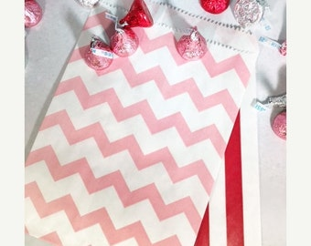 XOXO SALE 24 Valentine's Candy Favor Bags, Pink Chevron and Red Stripe Party Favor Bags, Pink Wedding Candy Bags, Pink and Red Striped Favor