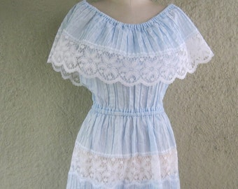 Vintage Mexican Pintuck Dress - Mexican Dress with Pintuck Ruffle and Lace - Pretty Blue Mexican Dress with Tiered skirt - Off the Shoulder