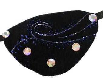 Velvet Eye Patch Aurora Borealis Black Blue Gothic Steampunk Pirate Fantasy Fashion