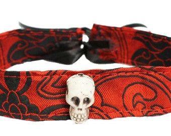 Gothic Skull Red Choker Necklace Steampunk Vampire Pirate Voodoo Cosplay Costume