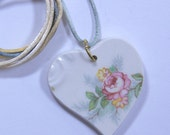 Rose Heart Pendant Hand Cut Broken China with Satin Cord #472