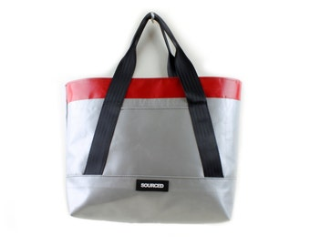 Large Tote Bag with removable strap, Recycled Truck Tarp, Diaper Bag, Large Beach Bag, Waterproof Shoulder Bag (1.03)