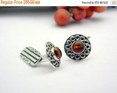 sale Sterling silver cufflinks antique style amber stone ,men's accessories cuff links ,art nouveau style
