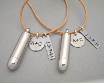 Matching Couples Necklaces - Couples Jewelry - Bullet Necklace - Hand Stamped - His & Hers Jewelry - Initial Necklace - Monogram Necklace