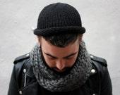 Black Fisherman Beanie, Hand Knit Rolled Brim Hat