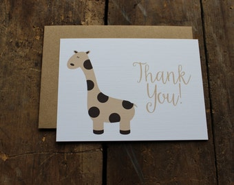 Baby Shower Thank You Cards // Baby Animal // Giraffe // Rustic // Calligraphy Thank you Note Set