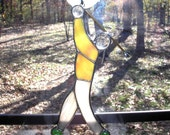 LT Stained glass Man Golfer sun catcher light catcher amber green and beige mix top light brown or beige streaked pants with golf club