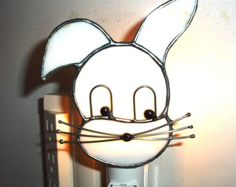 LT Stained glass Bunny Rabbit night light lamp made with slightly streaked bone colored opal glass
