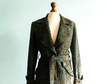 Vinatge long jacket coat / brown green / velvety shiny / wool / womens / spring / small medium
