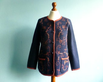 Vintage wool cardigan sweater / navy blue orange / floral / button up / Jumper / medium