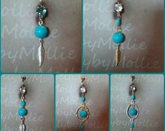 Turquoise and feather belly rings