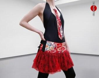 Pleated Mini Overskirt Wrap Japanese Fans Lolita Harajuku